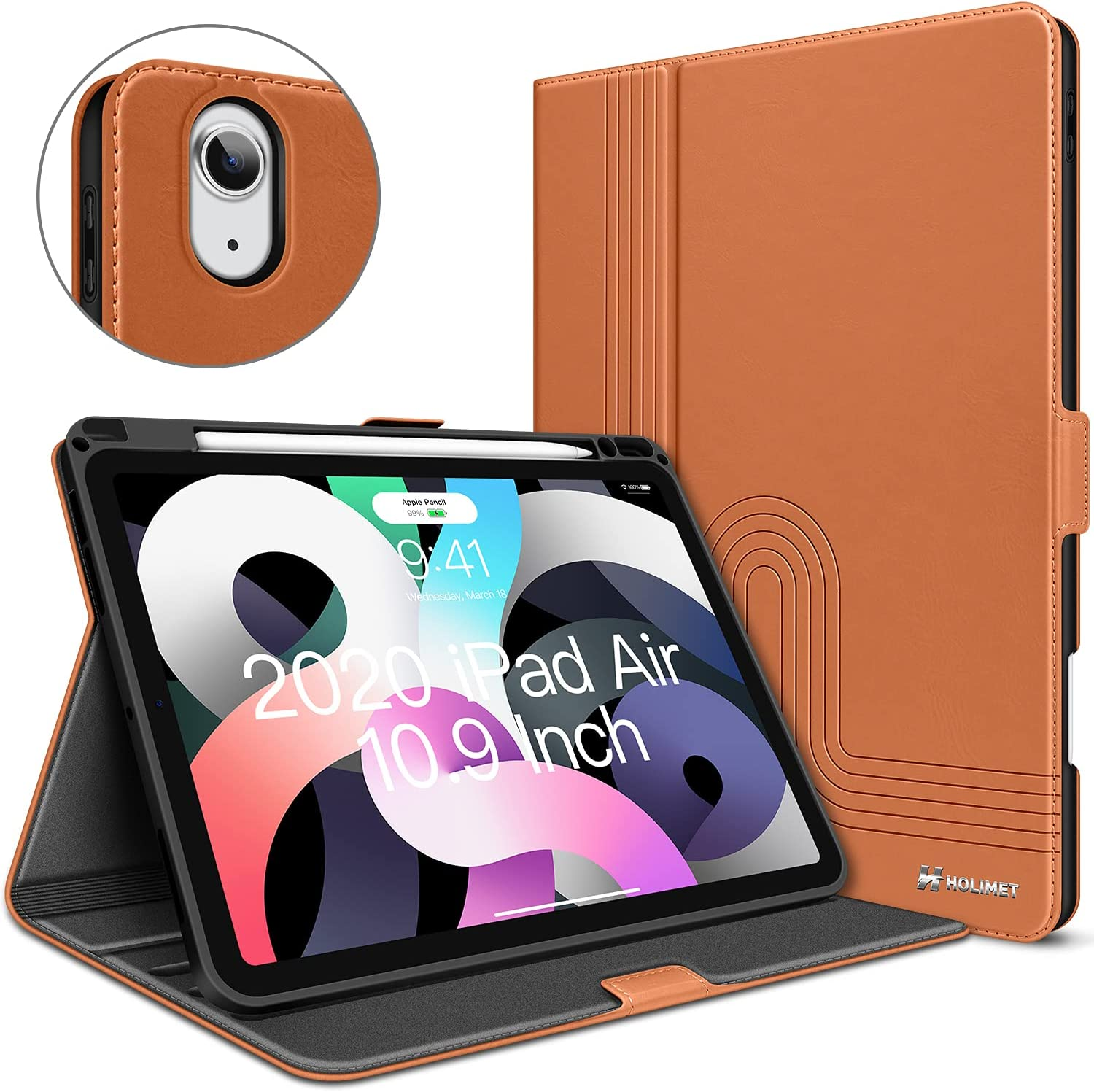 iPad Air 4th Generation Case for 10.9 Inch iPad Air 4 PU Leather Case Folio Stand Protective Cover Cases for iPad Air 4th Gen 2020 with Pencile Holder Auto Sleep/Wake Magnetic Closure, Caramel Brown