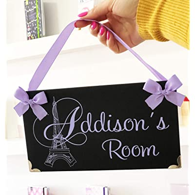 Personalized Eiffel Tower Paris Themed Teens Room Name Door Plaque, Elegant Black and White Damask with Lavanda Text: Handmade