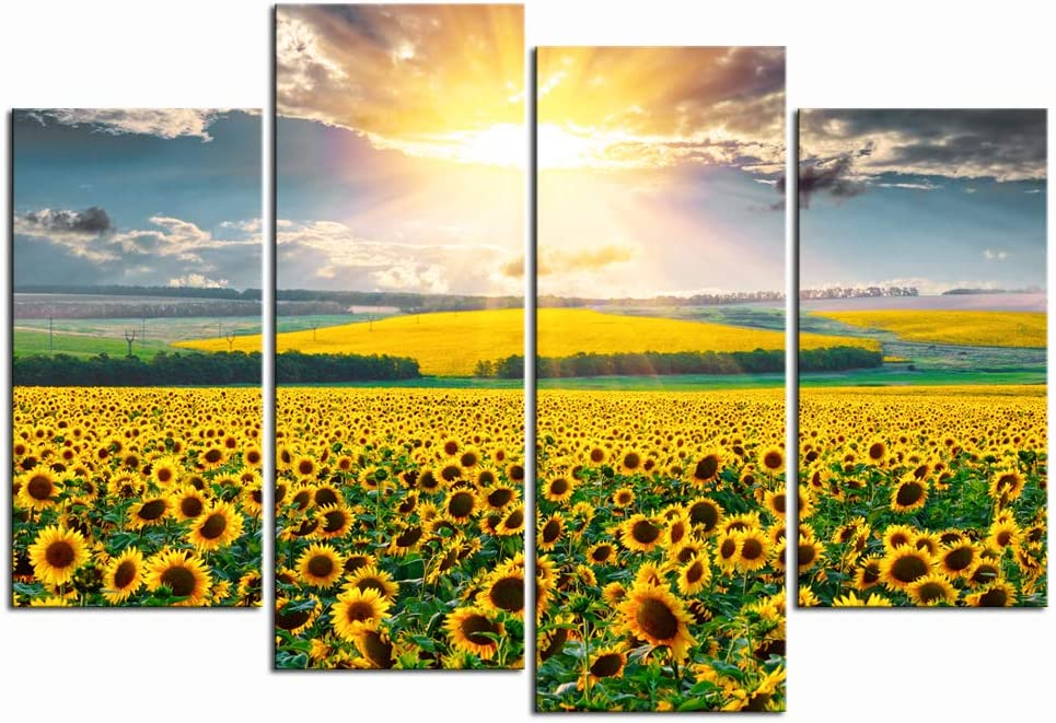 LevvArts - 4 Piece Canvas Prints Wall Art Gold Sunflower in Sunrise Pictures Nature Landscape Paintings Ready to Hang Modern Living Room Bedroom Wall Decorations