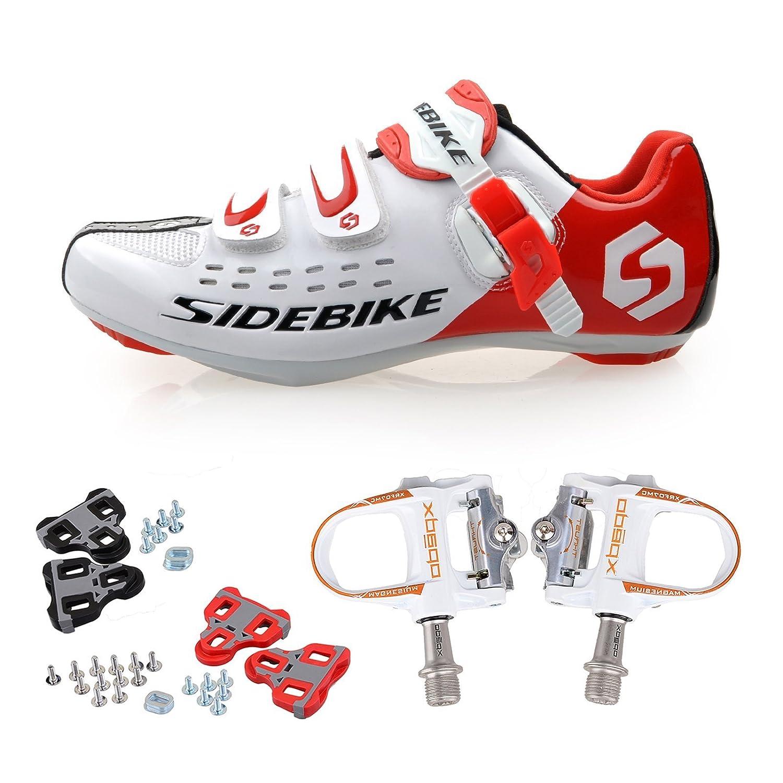 KUKOME サイドバイク ロードサイクリングシューズ&ペダル 様々なサイズと色 US9/EU 42 (Foot Length 26.5CM) White Red + White B016W6J9TI