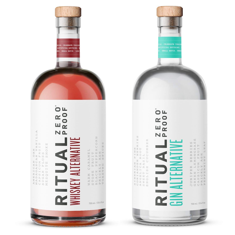 RITUAL ZERO PROOF Gin & Whiskey Alternatives | Award-Winning Non-Alcoholic Spirits | 25.4 Fl Oz (750ml) Each | Low & No Calories | Keto, Paleo & Low Carb Diet Friendly | Alcohol Free Cocktails