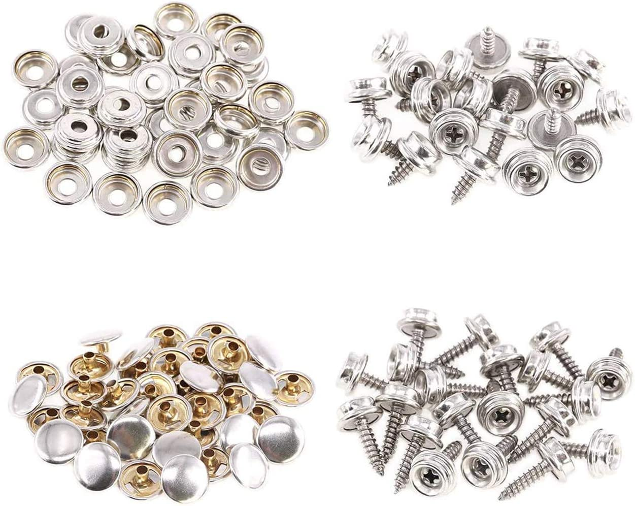 BetterJonny 60 Sets Stainless Steel Snap Fasteners Press Stud Kit with 3 Pieces Setting Tool in Storage Box for Boat Cover Furniture 180pcs Canvas Snaps Kit