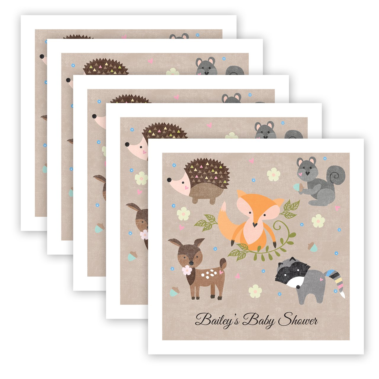 Woodland Animals Personalized Beverage Cocktail Napkins - 100 Custom Printed Paper Napkins by Canopy Street (Image #2)