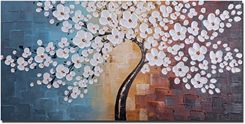 Wieco Art Blooming Life Large Modern Stretched and Framed White Flowers Artwork 100 Hand Painted Floral Oil Paintings on Canvas Wall Art Ready to Hang for Living Room Bedroom Home Decorations L