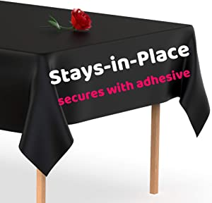 Stay-in-Place Black Plastic Tablecloth - Secures to The Table with Adhesive - Windproof Disposable Tablecloths 5 Pack 54 x 108 inch. Rectangle Plastic Table Cover by Swanoo