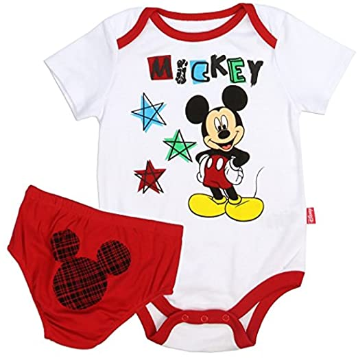 7623a990fc64 Amazon.com  Mickey Mouse Infant Baby Boys Creeper and Diaper Cover 2 ...