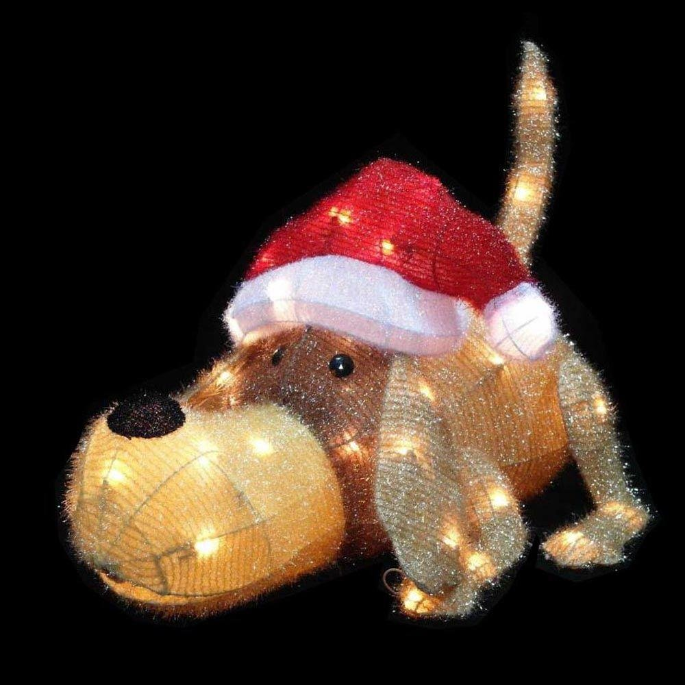 20 in. H Pre-Lit Clear Mini Lights Christmas Greeting Puppy