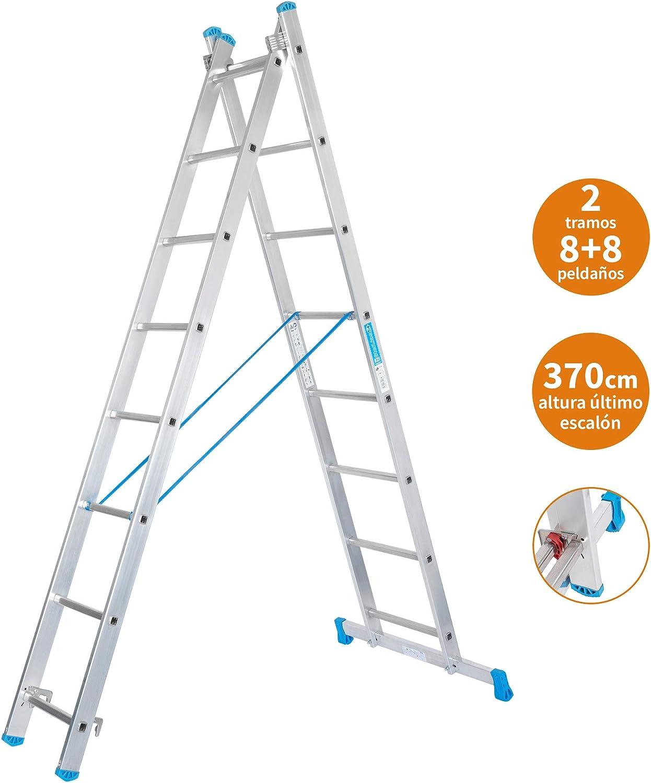 Escalera Transformable 2 Tramos 8+8 Peldaños Plegable Super Resistente hasta 150Kg de Acero y Aluminio con relieves Antideslizantes para Altura de Trabajo hasta 457cm - Packer PRO: Amazon.es: Bricolaje y herramientas