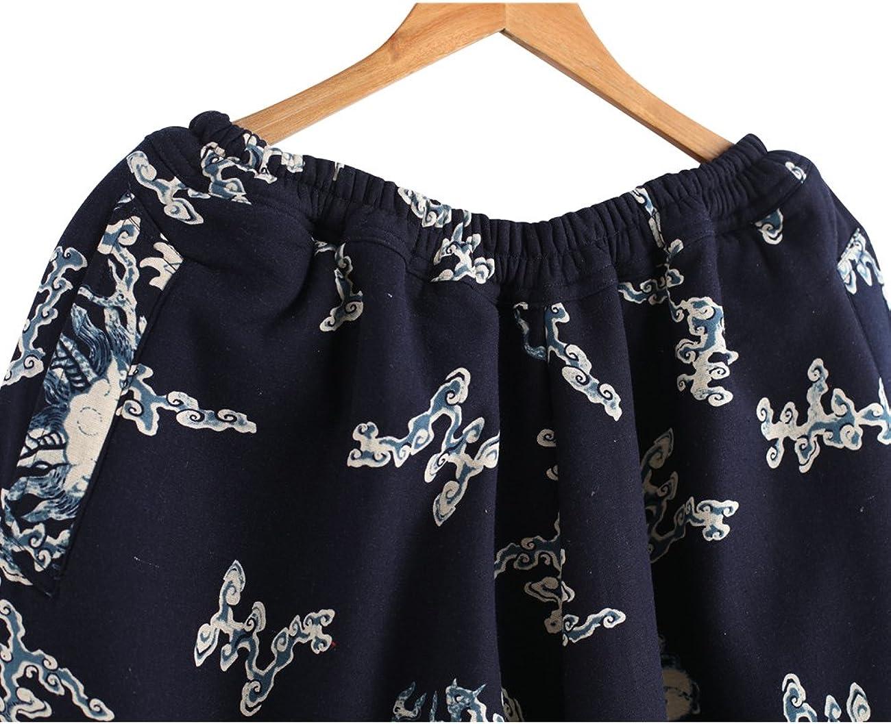 Zoulee Mens New Elastic Waist Drop Crotch Printed Harem Pants