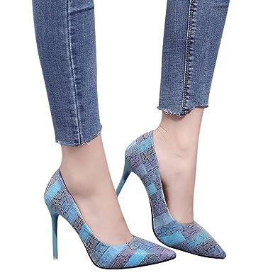 QinMM Damenmode Thin Heels Schuhe Wild Mischfarben Flach High Heels Schuhe Basic Sandalen Spitz Blau Orange 34-41