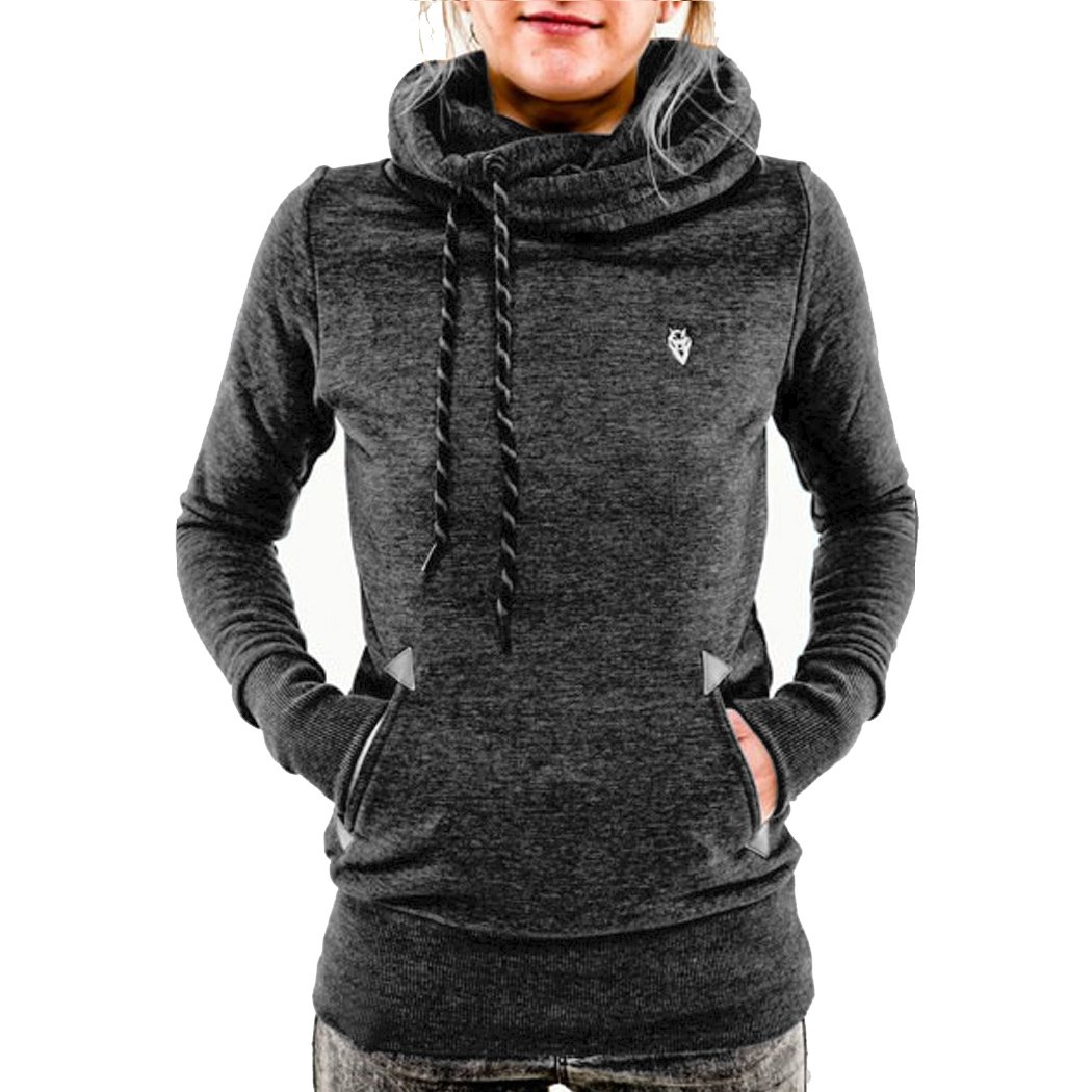 Eshion Women's Casual Reindeer Fawn Hooded Fleece Sweater ...