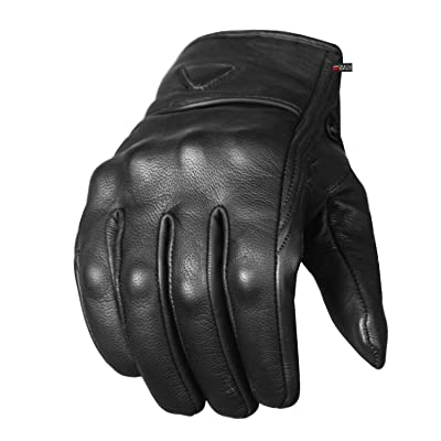 Men's Premium Leather Street Motorcycle Protective Cruiser Biker Gel Gloves XL: Automotive