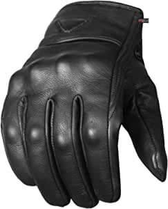 Men/'s Premium Leather Street Motorcycle Cruiser Biker Gel Brown Short Gloves