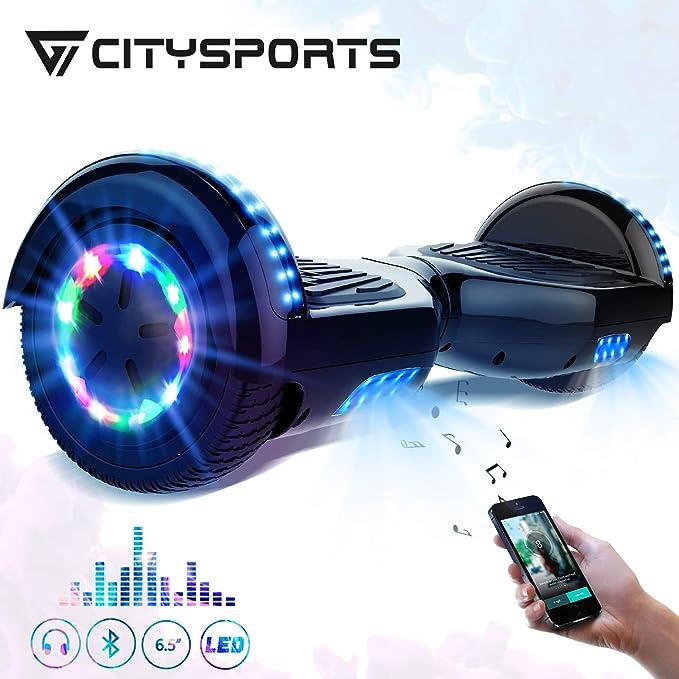 CITYSPORTS Overboard 6.5 Pulgadas Hover Board Bluetooth, Patinete Eléctrico Self-Balance Board 700W Motor con Ruedas de Flash LED, Monopatín Eléctrico para Niño y Adulto