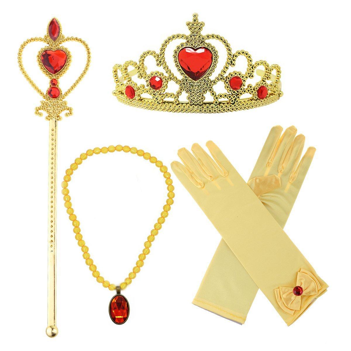 Hpwai Girls Princess Belle Dress Up Costume Accessories,Crown Necklace Wand Gloves Gift Set