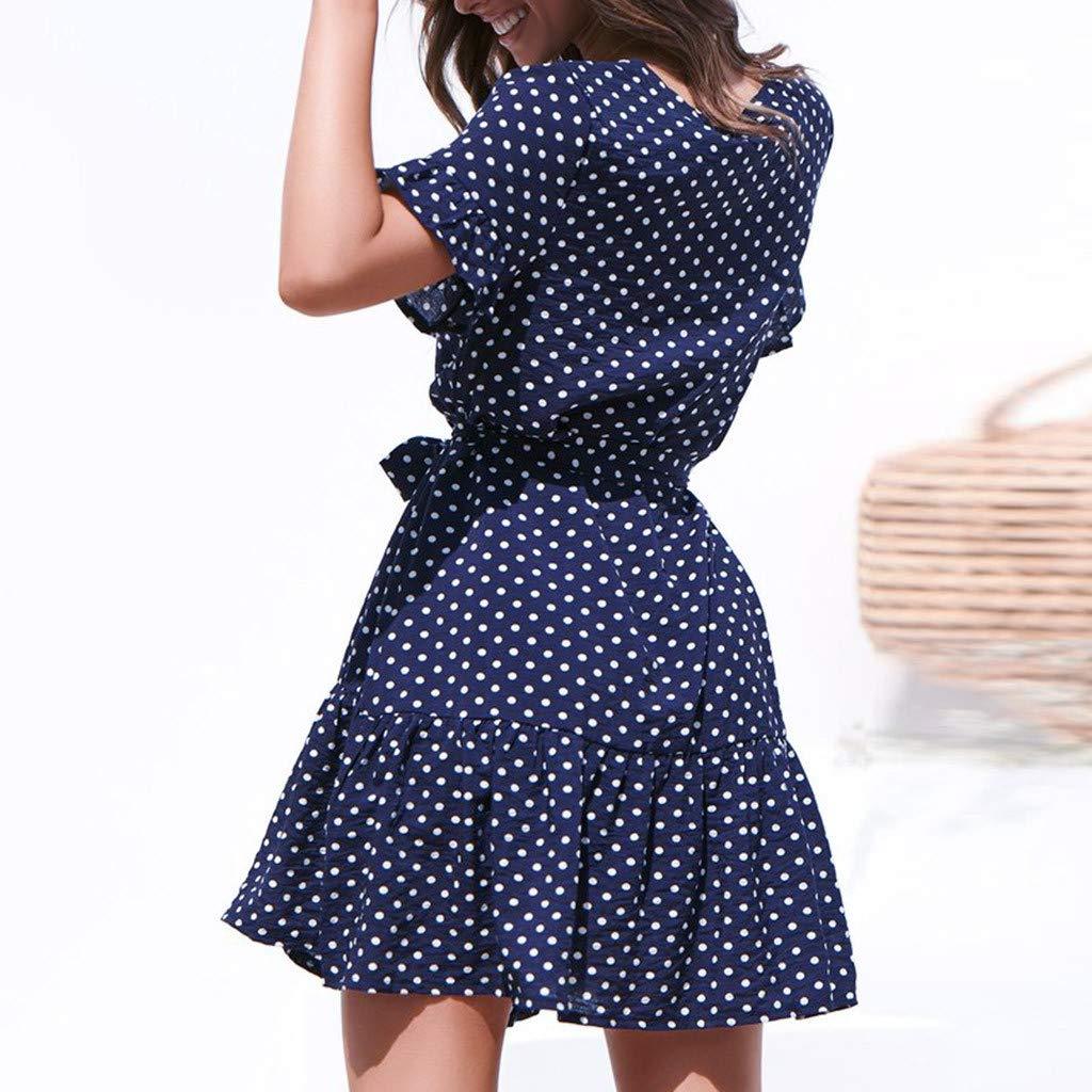 Willow S Women 2019 Fashion Casual Summer Dot Printed Short Sleeve Bandage Button Casual Beach Dress