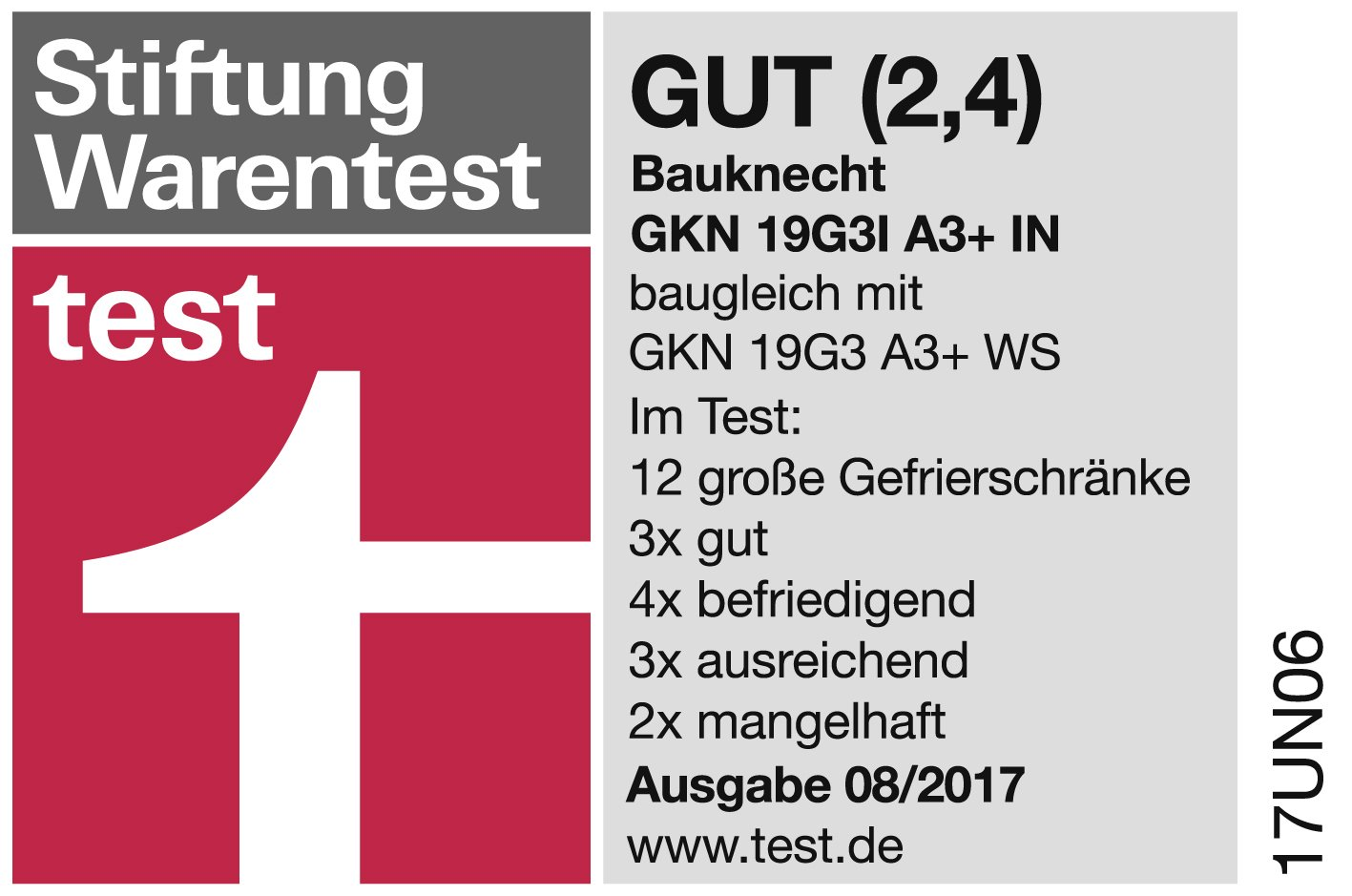 Bauknecht GKN 19G3I A3+ IN NoFrost Gefrierschrank / 260 L ...