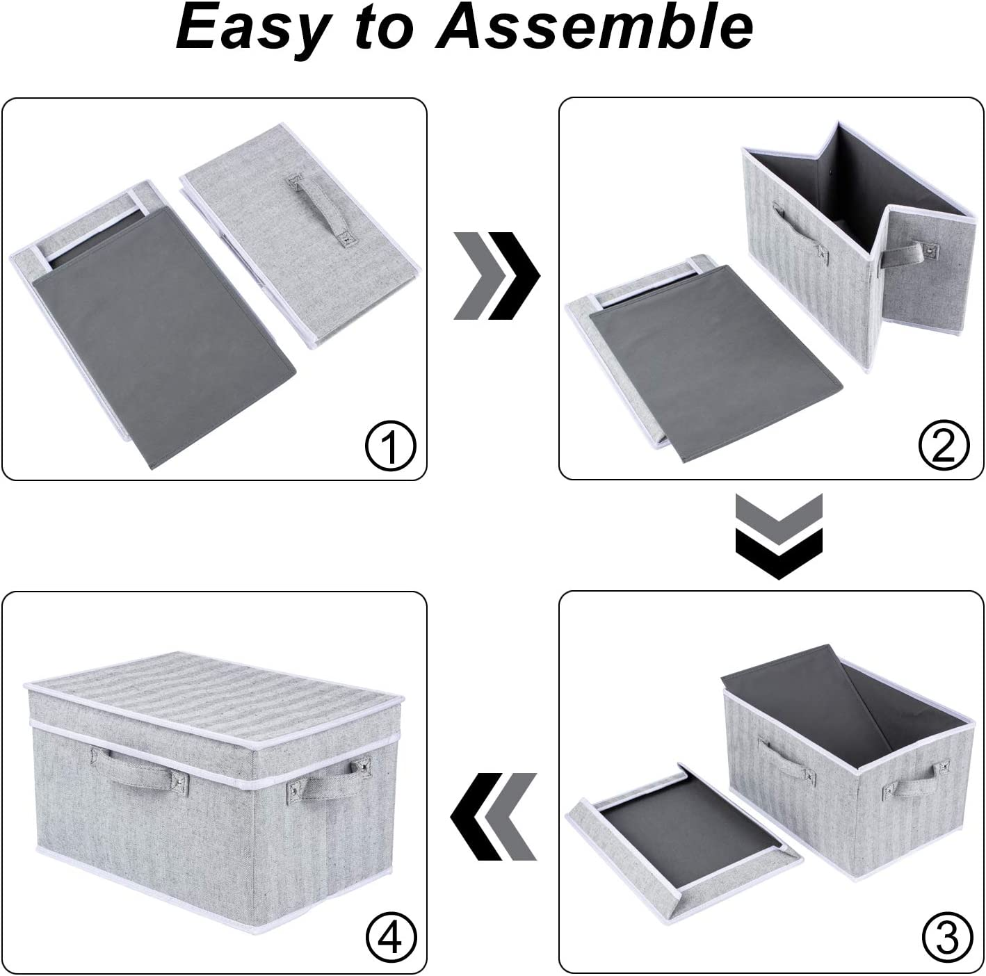 Grey Zilink Storage Bins for Shelf Decorative Storage Boxes with lids Stack-able Storage Baskets for Closet with Handles for Home Office Storage Set of 3