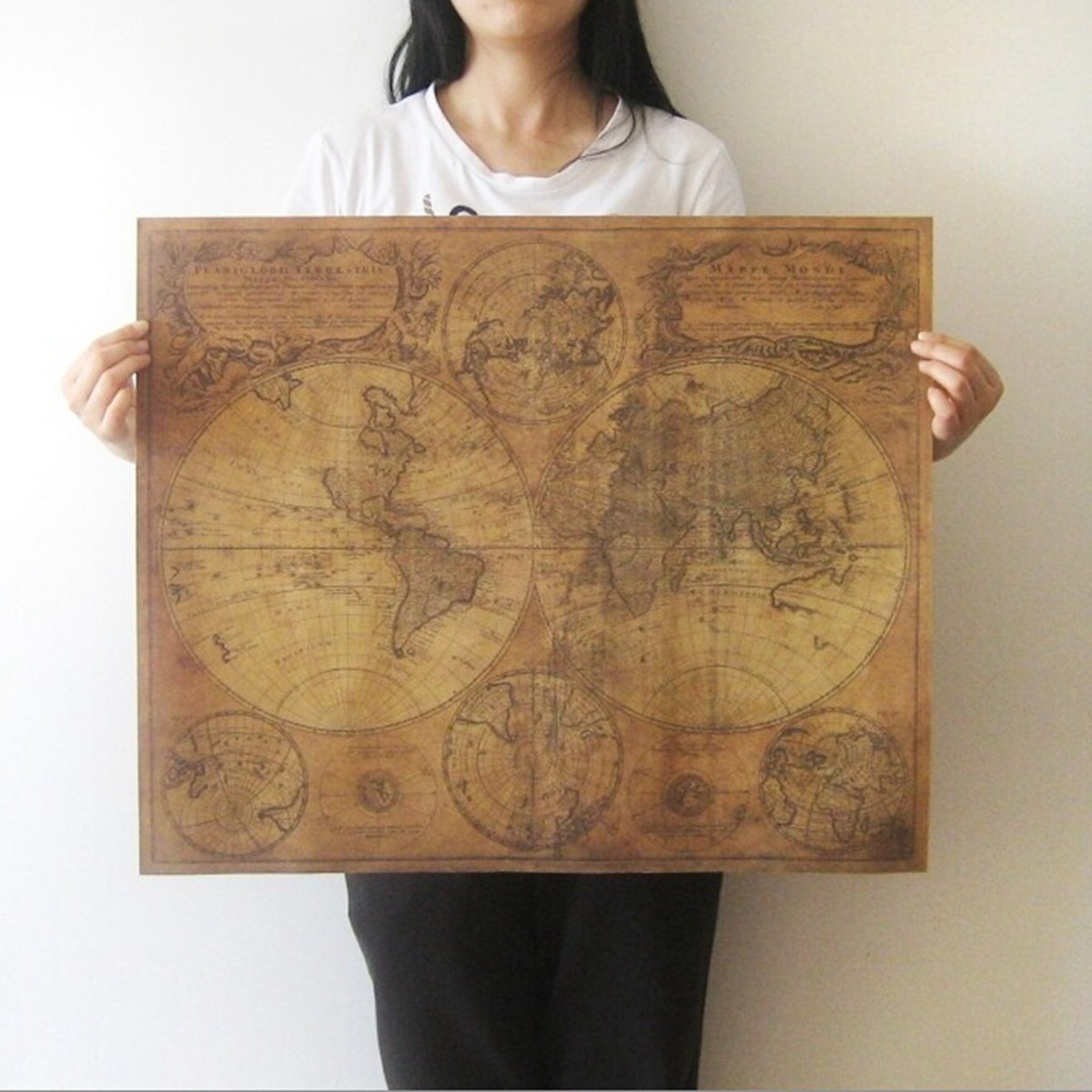 7146.5cm Brown Paper Antique World Map Wall Chart Poster