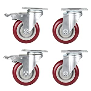 Coocheer 4'' Swivel Caster Wheels with Top Plate & Bearing Heavy Duty On Red Polyurethane Wheels Set of 4 (2 Swivel Without Brake, 2 Swivel with Brakes)