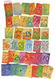 Grimm's Nature-Inspired 123 Waldorf 数字卡* 2 部分 - 艺术水彩卡用于学习、计数和数学以及英语游戏创意,48 副副牌