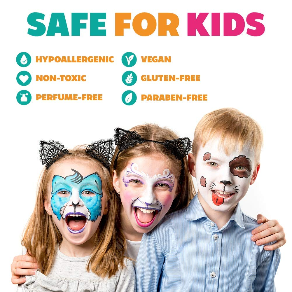 Kraze FX Splash Sampler Split Cake Palette Party /& Halloween Safe /& Non-Toxic Ideal for Fairs 6 x 6 gm Hypoallergenic Child Friendly Body and Face Painting Palette