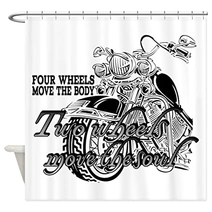CafePress Two Wheels Move The Soul Motorcycle Shower Curtain Decorative Fabric 69quot