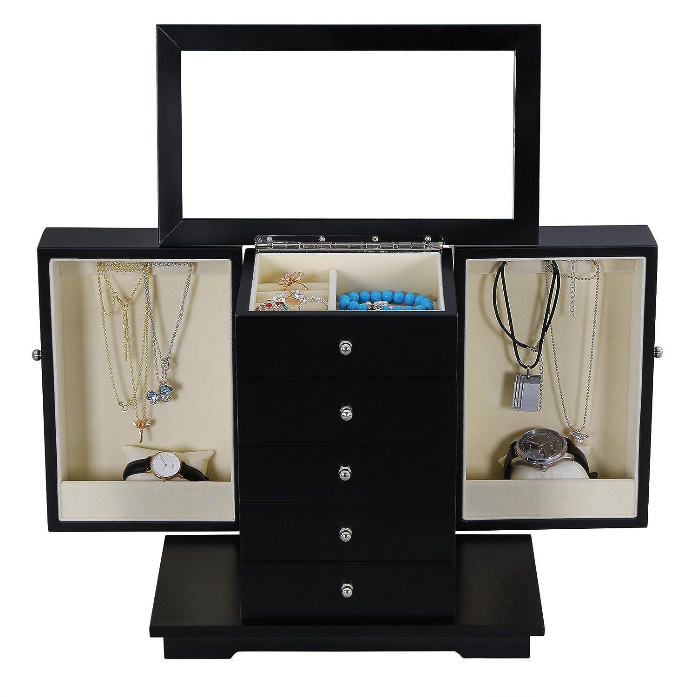 Amazon.com: Songmics Caja de joyas de madera negro caso de ...