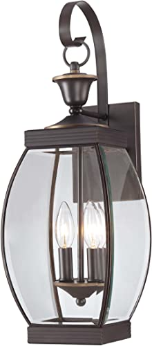 Quoizel OAS8408Z Oasis Outdoor Wall Lantern Wall Mount Lighting, 2-Light, 120 Watts, Medici Bronze 21 H x 8 W