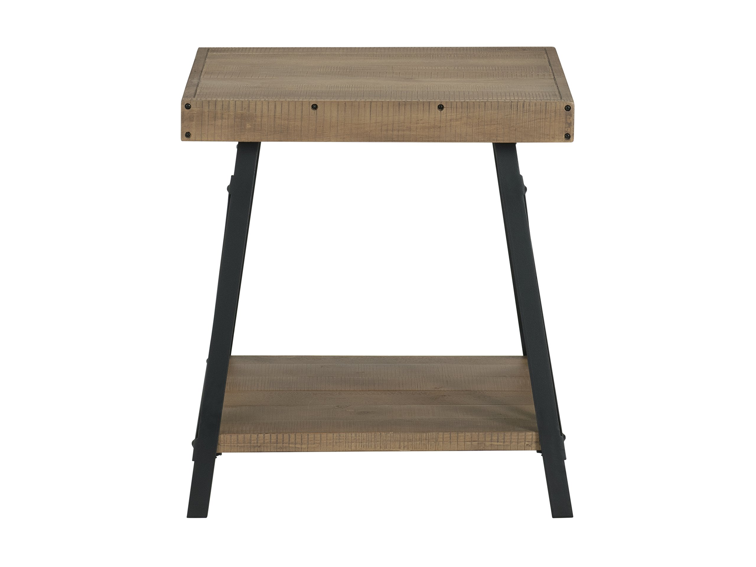 "Martin Svensson Home 890434 Xavier End Table, Reclaimed Natural - Finish: Reclaimed Natural - reminiscent of Reclaimed wood found in an old barn or warehouse Crafted from solid wood - New Zealand pine with rough hewn saw marks Exposed rivets across the Top and Black Steel metal ""x"" cross on the end caps give it a distinct industrial and rustic look - living-room-furniture, living-room, end-tables - 71FTg SAVIL -"