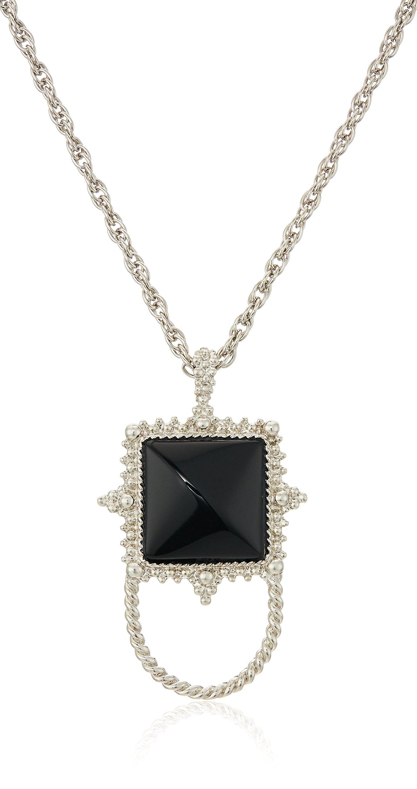 1928 Jewelry Womens Silver-Tone Semi-Precious Onyx Square Eyeglass/Badge Holder Pendant Enhancer, black, 30