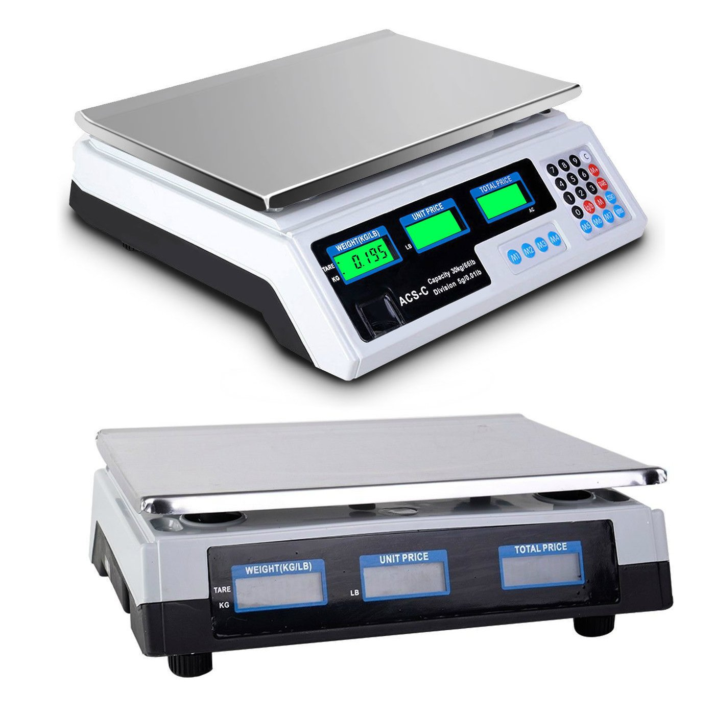 30Kg/66lb x 5g/0.01lb Commercial Food Deli Scale | Lb Kg Food Meat Price Computing Digital Display Weight Scale Electronic Counter Supermarket Retail Outlet Store