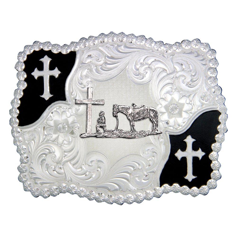Christian Flourish Scallop Shape Belt Buckle with Christian Cowboy (3611-731M)
