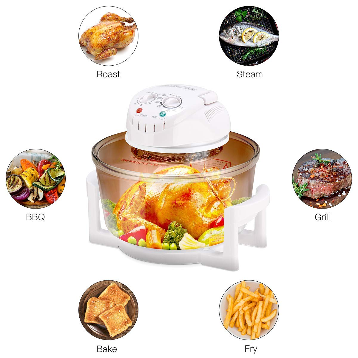ReunionG Infrared Halogen Convection Turbo Oven Cooker Glass Bowl Healthy Low Fat Cooking Oven with Stainless Steel Extender Ring