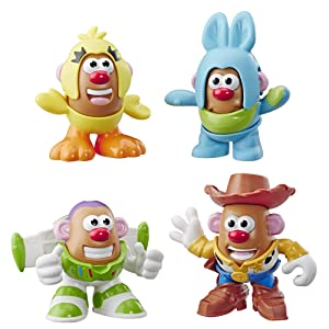 Mr Potato Head Disney/Pixar Toy Story Mini 4 Pack Buzz, Woody, Ducky, Bunny Figures Toy for Kids Ages 2 & Up