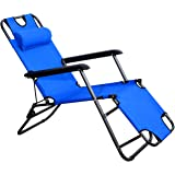 Outsunny Tumbona Reclinable y Plegable de Jardín - Color Azul - Tela Oxford y Acero…
