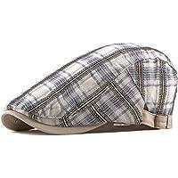 ee5f4b44 ZLSLZ Mens Adjustable Plaid Ivy Newsboy Cabbie Gatsby Golf Beret Flat Hat  Cap
