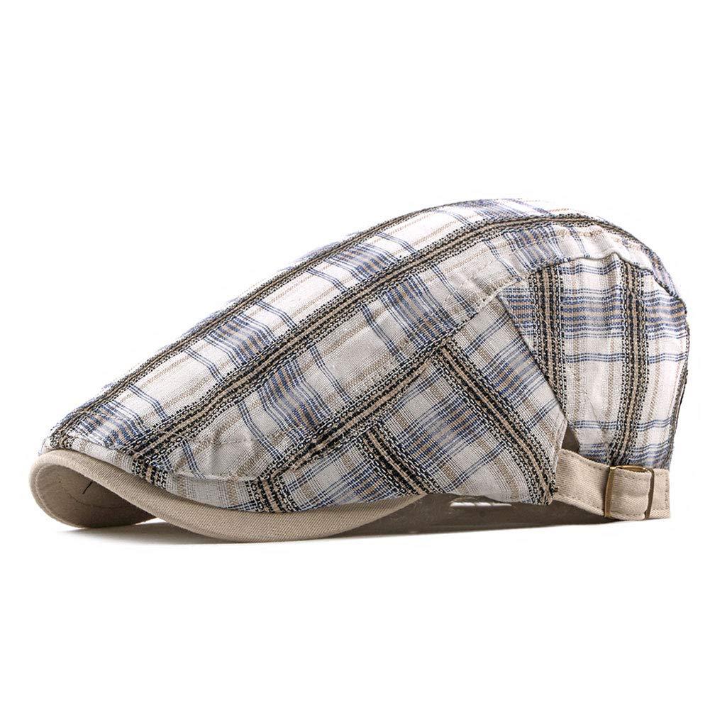 aa6885552 ZLSLZ Mens Adjustable Plaid Ivy Newsboy Cabbie Gatsby Golf Beret Flat Hat  Cap