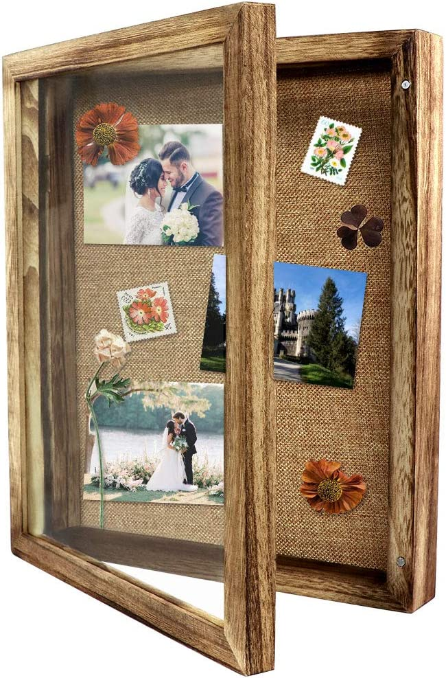 OurWarm 11 x 14 Shadow Box Display Case, Shadow Box Picture Frame Rustic Wood Memory Box with Linen Background and 10 Stick Pins for Home Wedding Baby Sports Memorabilia Awards Medals Photos Decor