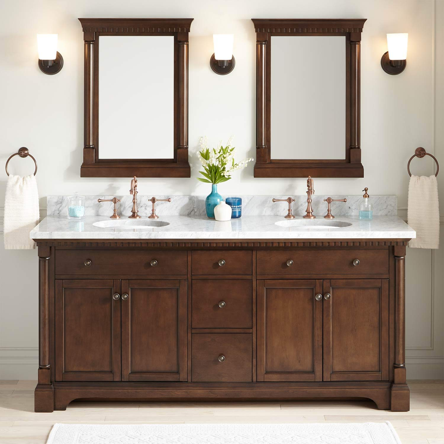 Signature Hardware 433636 Claudia 72 Double Vanity Set With Wood