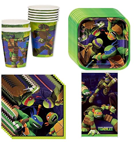 Red Balloon with Teenage Mutant Ninja Turtles Party Supplies Pack Including Plates, Cups, Napkins and Tablecover - 16 Guests