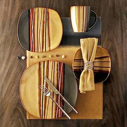 Amazon.com | Hometrends Bazaar 16pc Dinnerware Set, Brown ...