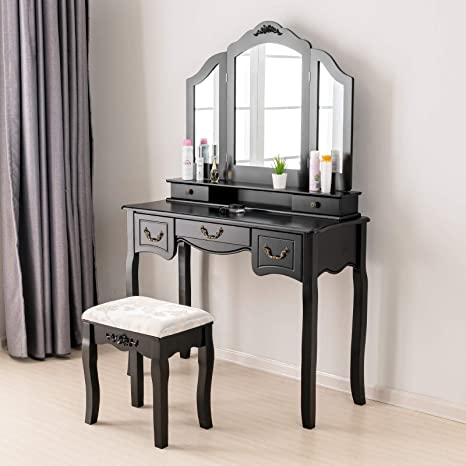 Mecor Vantiy Set w/Tri-Folding Mirror, Makeup Dressing Table with 5 Drawers  Wood Vanity Table w/Cushioned Stool Girls Women Bedroom Furniture Black
