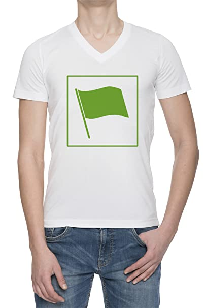 Bandera Verde Ecológica V Cuello Camiseta Para Hombre Blanca Todos Los Tamaños | Mens White V