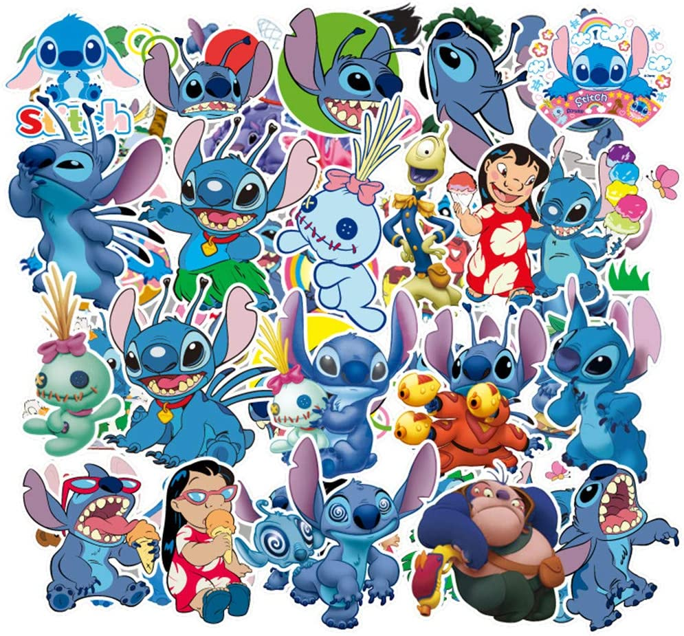 Lilo & Stitch Laptop Stickers Waterproof Computer Skateboard Pad MacBook Car Snowboard Bicycle Luggage Decal 55pcs Pack