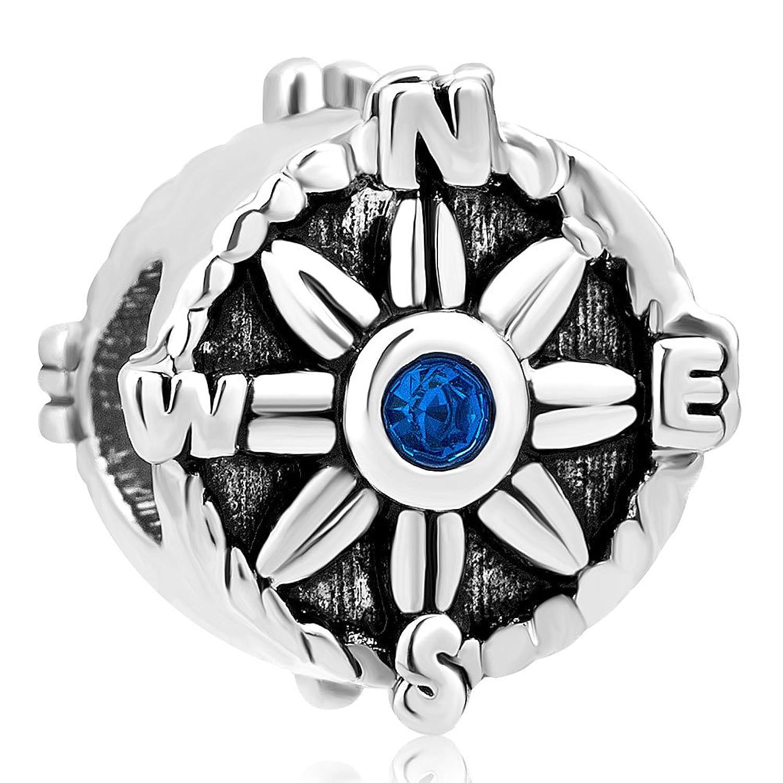 Uniqueen cristal azul brújula Charm punto de direcciones cuentas de ajuste colgantes