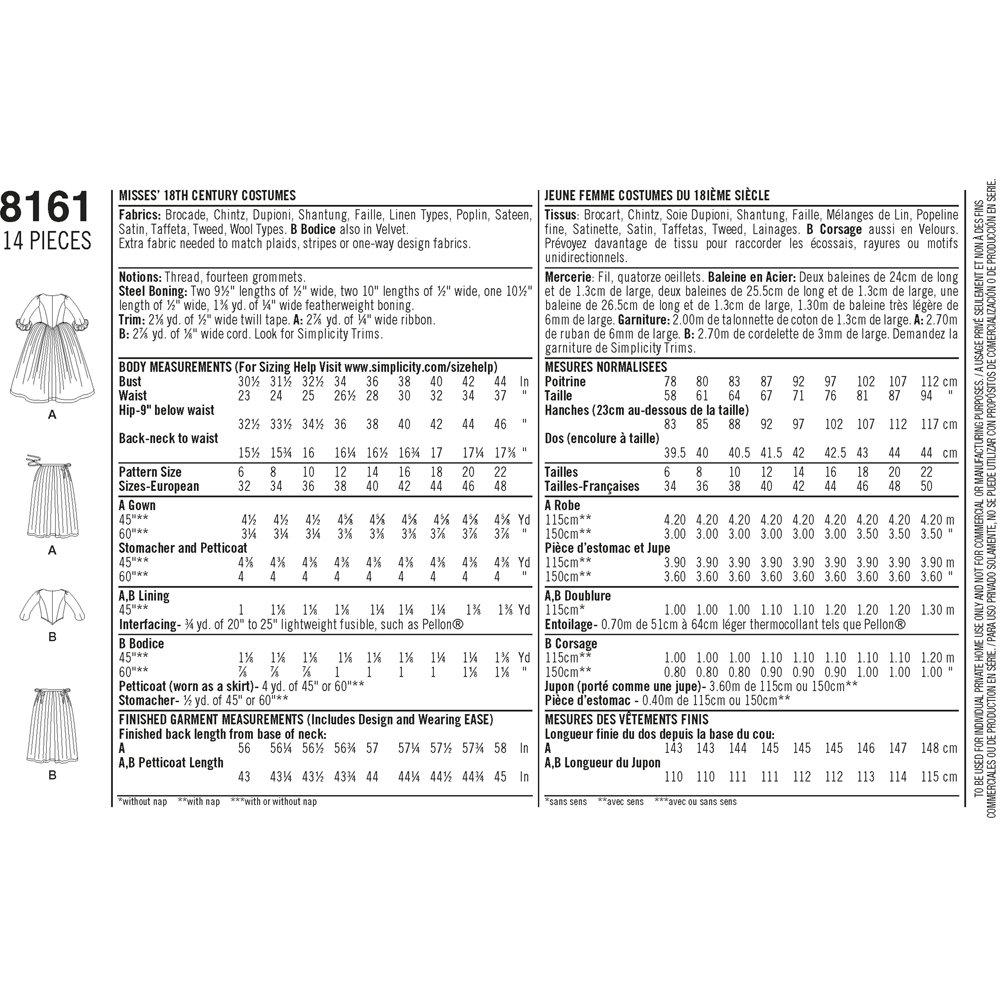 Simplicity Pattern 8161 Patrones de Costura para Patrones de Costura ...