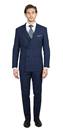 Alain Dupetit MenÕs Double Breasted Suit 54R Navy-Blue at Amazon ...