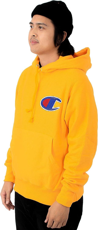 Champion Life Men's Reverse Weave Chainstitch C Logo Pullover Hoodie Chainstitch C C Gold