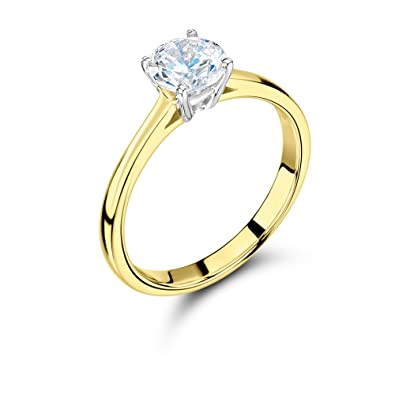 a867603dee219 ABELINI 9K Yellow Gold Certified I1 HI 100% Natural Round Solitaire Diamond  Engagement Rings (Available in 0.10-1.00CT)  Amazon.co.uk  Jewellery